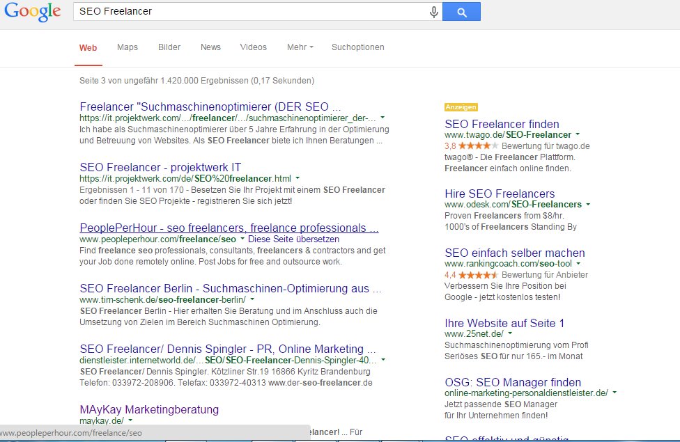 SEO Google Übersicht Suchbegriffe für SEO Freelancer