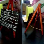 Mini Kundenstopper als Tiscdeko