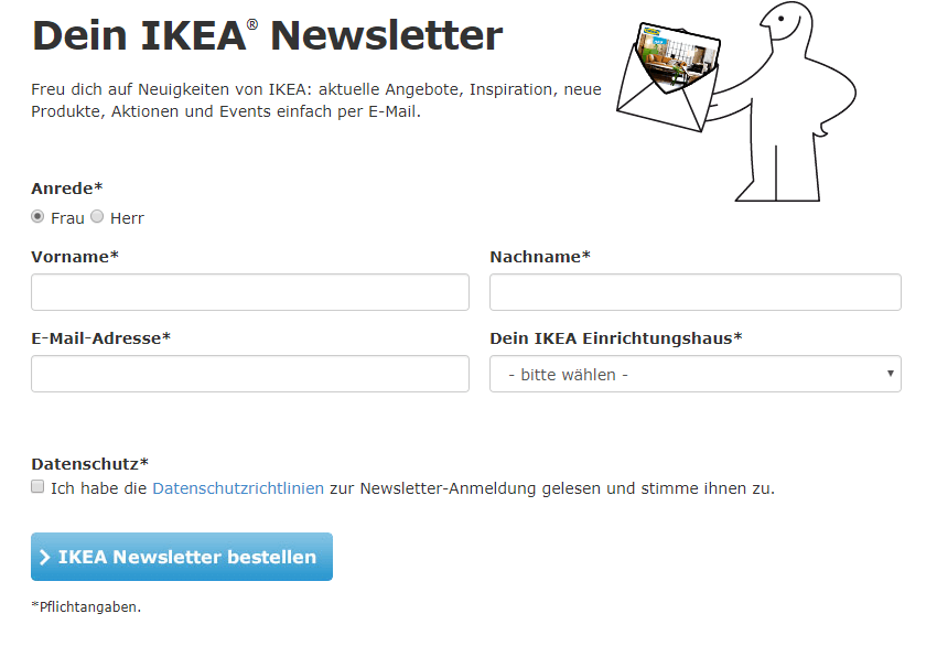 Das Newsletter Marketing Formular